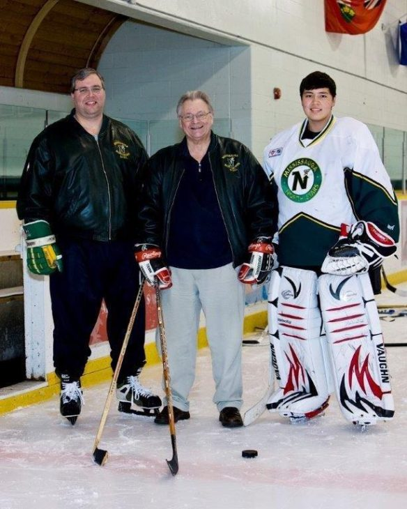 Three generations of Peter Johnson's. Mississauga North Stars General Manager Peter Johnson (middle) with his son (left) and grandson (right), all named Peter.
