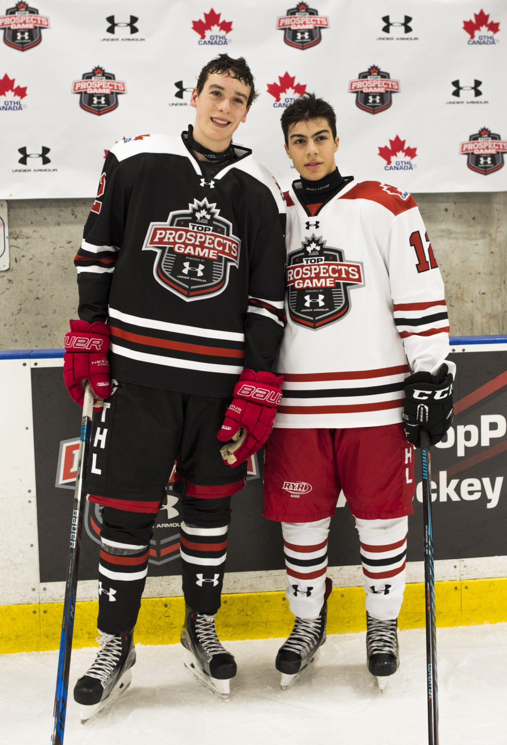 Mason Primeau (left) with Eric Ciccolini (right) at the 2016 GTHL Top Prospects Game, Powered by Under Armour.