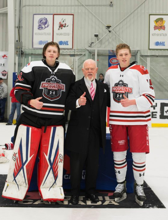 MVPs Chase Clark (left) and Riley Piercey with Don Cherry.